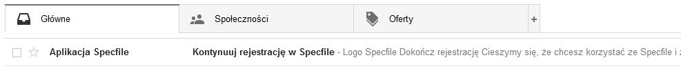 specfile rejestracja