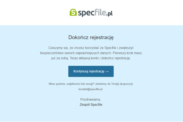 rejestracja specfile